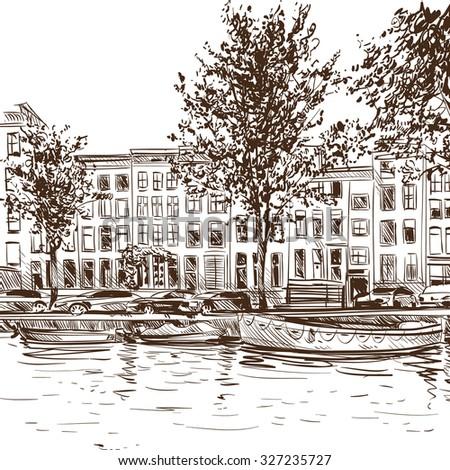 Amsterdam hand drawn, city sketch vector illustration - stock vector