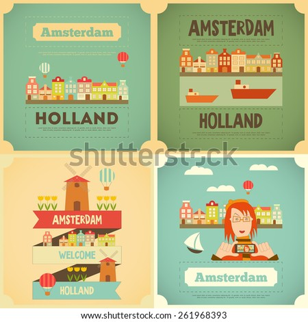 Amsterdam. Holland Card Collection in Flat Design. Vector Illustration. - stock vector