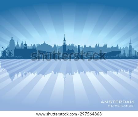 Amsterdam Netherlands city skyline vector silhouette illustration - stock vector