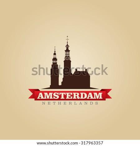 Amsterdam Netherlands city symbol vector illustration - stock vector