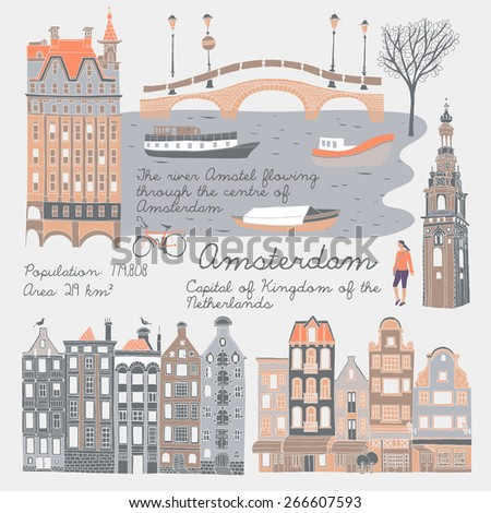 Amsterdam, Print design - stock vector
