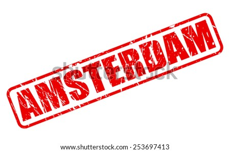 Amsterdam red stamp text on white - stock vector