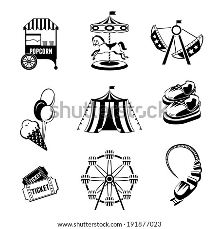 Amusement entertainment park black and white  icons set isolated vector illustration - stock vector