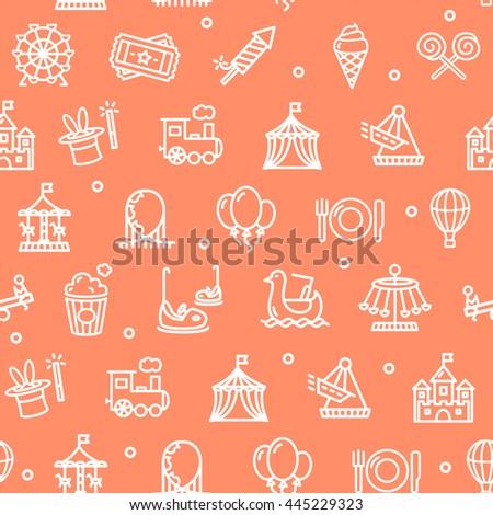 Amusement Park Background Pattern on Red. Vector illustration - stock vector