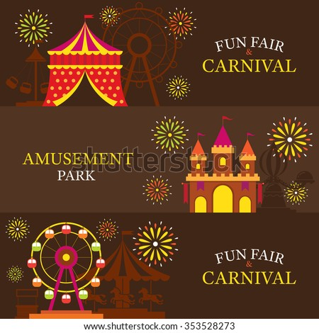 Amusement Park, Carnival, Fun Fair, Banner, Theme Park, Circus, Night Scene - stock vector