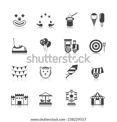 Amusement park circus fun fairground carnival icons black set isolated vector illustration - stock vector