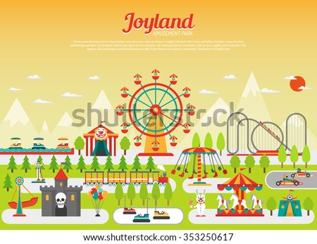Amusement park concept with flat fairground elements with mountains on background vector illustration - stock vector