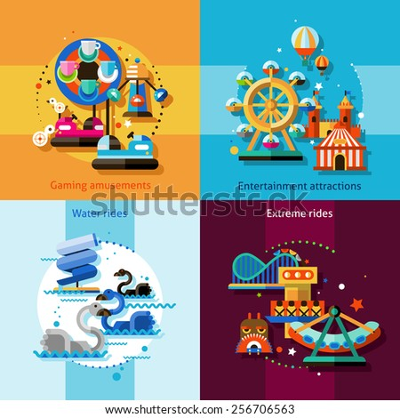 Amusement park design concept set with gaming entertainment attractions water and extreme rides flat icons isolated vector illustration - stock vector