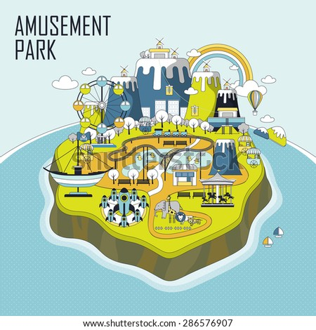 amusement park elements on an island in line style - stock vector