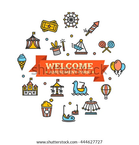 Amusement Park Embleme Can Be Used for Cards, Posters. Vector illustration - stock vector