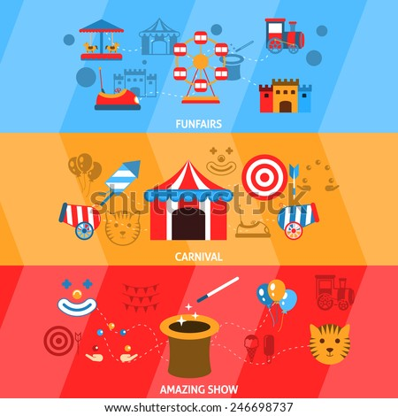 Amusement park flat horizontal banner set with funfairs carnival amazing show isolated vector illustration - stock vector