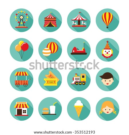 Amusement Park Flat Icons Set, Theme Park, Carnival, Fun Fair, Circus - stock vector