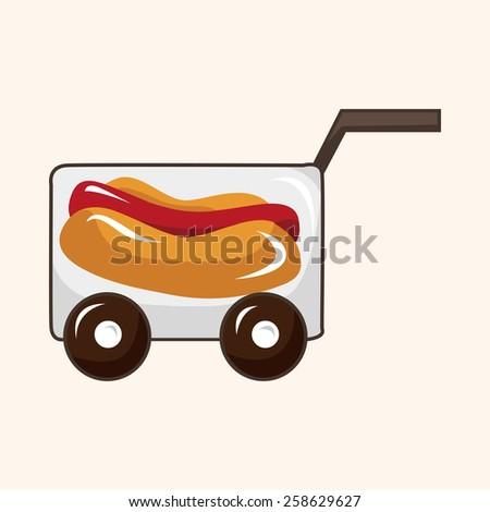 Amusement park food cart theme elements - stock vector