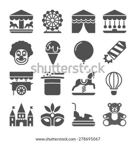 Amusement park fun fairground carnival black icons set isolated vector illustration - stock vector