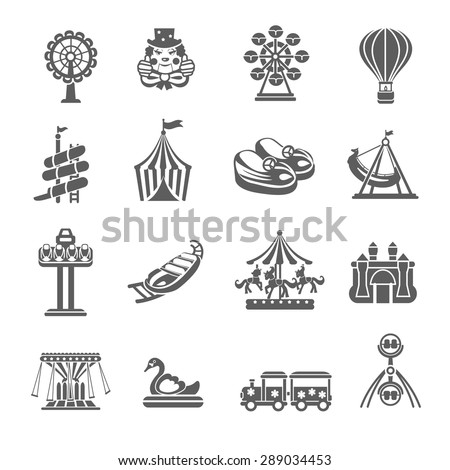 Amusement park grey icons set with clown balloon merry-go-round isolated vector illustration - stock vector