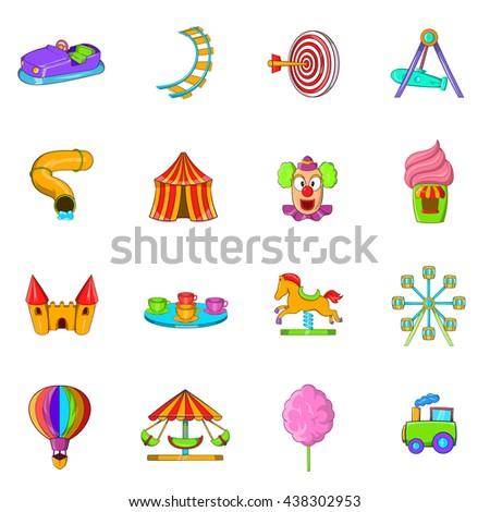 Amusement Park icons set, cartoon style - stock vector