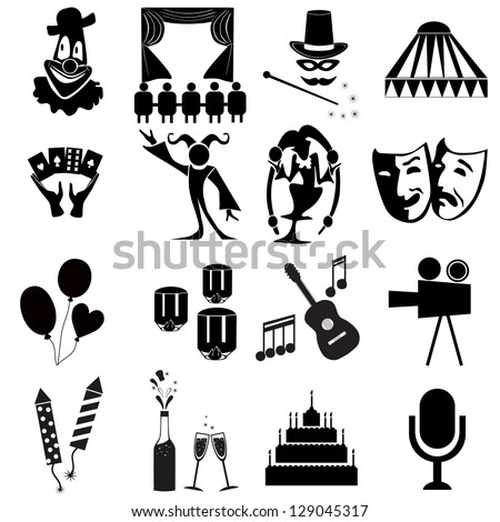 Amusement Park icons.vector black carnival icons set .Circus - stock vector
