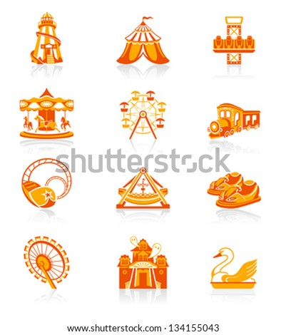 Amusement park or funfair attraction red-orange icon-set - stock vector