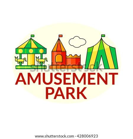 Amusement park outline concept design, vector illustration in outline style - stock vector