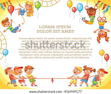 Amusement park. Playground. Template for advertising brochure. Ready for your message. Children pull the rope. Kids playing tug of war. Lorem ipsum. Funny cartoon character. Vector illustration - stock vector
