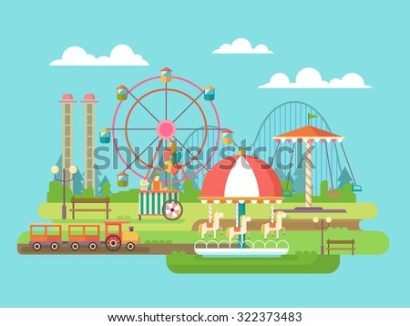 Amusement park. Riding on the carousel, family holidays. Flat vector illustration - stock vector