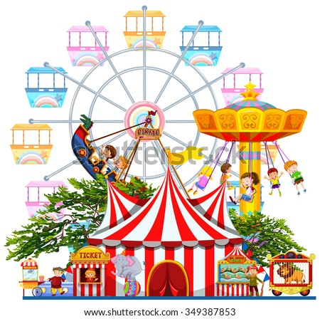 Amusement park scene with many rides illustration - stock vector