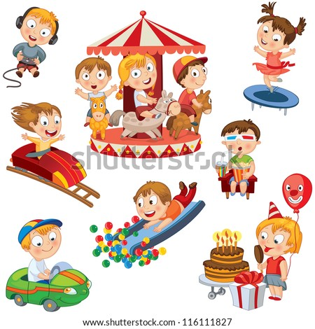 Amusement Park. Set. Children ride on the carousel, little girl jumping on a trampoline, eating ice cream and keeps the balloon, boy sits in 3d a movie theater, rides a toy car, playing computer game - stock vector