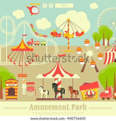Amusement Park. Summer Holiday Card with Fairground Elements - Rides, Carousel. Vector Illustration. - stock vector