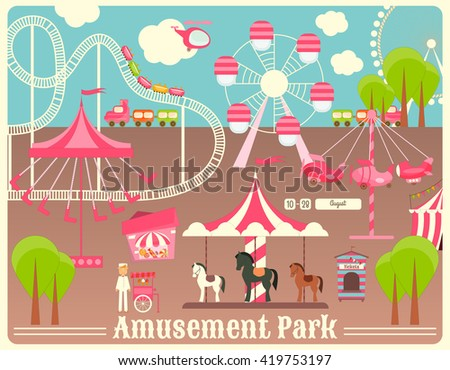 Amusement Park. Summer Holiday Card with Fairground Elements. Vector Illustration. - stock vector