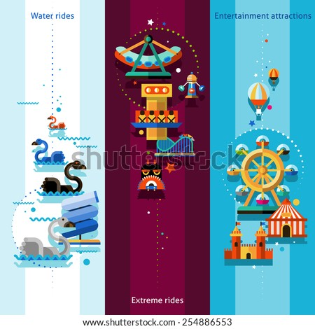 Amusement park vertical banners set with water extreme rides and entertainment attractions elements isolated vector illustration - stock vector