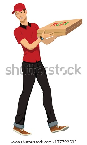 An a vector illustration of pizza boy. - stock vector