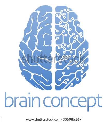 An abstract illustration of a brain circuit board concept design - stock vector