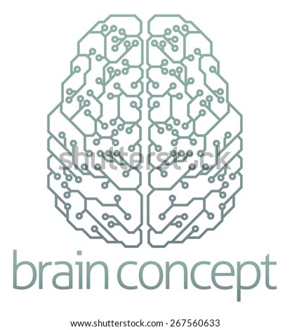 An abstract illustration of a brain computer circuit concept design - stock vector