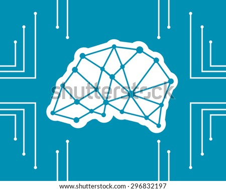 An abstract illustration of an electronic circuit board brain in profile, ai artificial intelligence circle concept design - stock vector