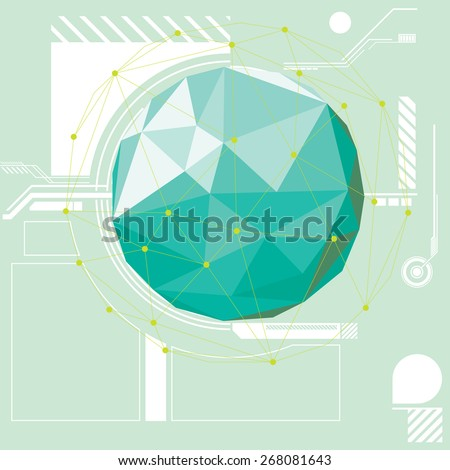 An abstract vector illustration of a low poly orb hovering over a technical looking schematic. - stock vector