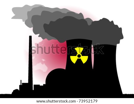 An abstract vector illustration of a nuclear power plant and its dangers. - stock vector