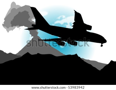 An abstract vector illustration of an airplane and a landscape, containing an active volcano. - stock vector
