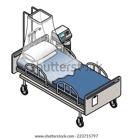 An adjustable electric hospital bed with an oxygen tent set up over it. - stock vector