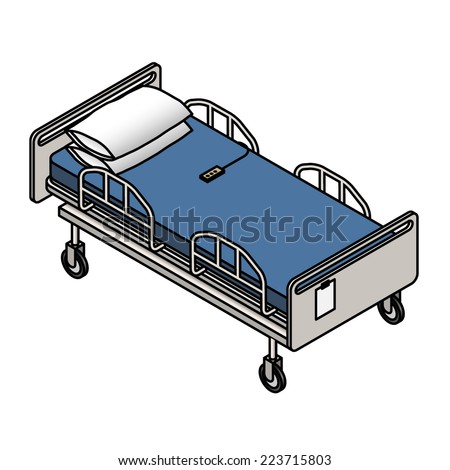 An adjustable electric hospital bed with pillows. - stock vector