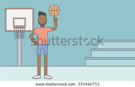 An african-american basketball player spinning the ball on his finger. Vector line design illustration. Horizontal layout with a text space for a social media post. - stock vector