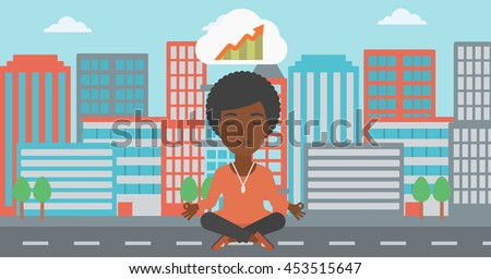 An african-american business woman with eyes closed doing yoga and meditating in lotus pose outdoors and thinking about the growth graph. Vector flat design illustration. Horizontal layout. - stock vector