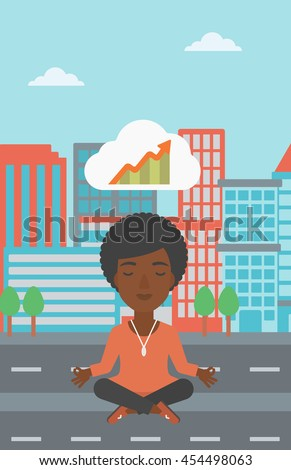 An african-american business woman with eyes closed doing yoga and meditating in lotus pose outdoors and thinking about the growth graph. Vector flat design illustration. Vertical layout. - stock vector