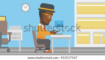 An african-american businessman working on his laptop in office and receiving or sending email. Business technology, email concept. Vector flat design illustration. Horizontal layout. - stock vector