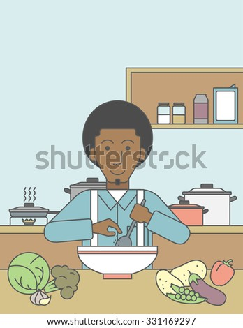 An african-american man cooking meal at the table with some vegetables on it on kitchen background. Vector line design illustration. Vertical layout with a text space for a social media post. - stock vector