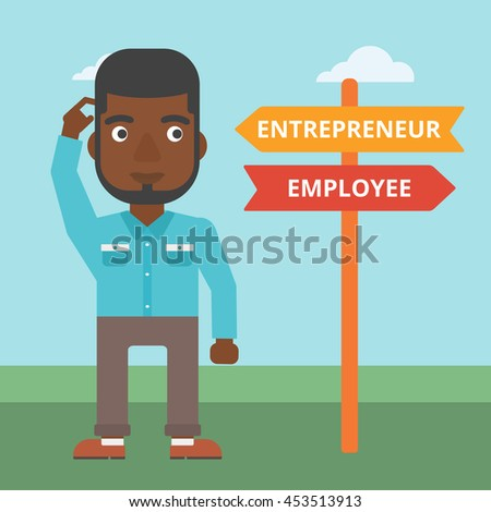 An african-american man standing at road sign with two career pathways. Man choosing career pathway. Man making a decision of his career pathway. Vector flat design illustration. Square layout. - stock vector