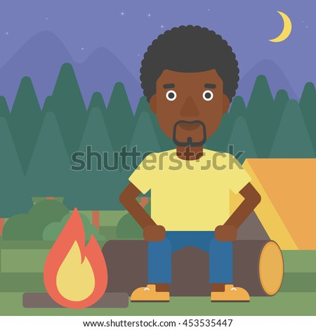 An african-american travelling man sitting on a log near a fire on a background of camping site with tent. Man sitting near a campfire at a campsite. Vector flat design illustration. Square layout. - stock vector