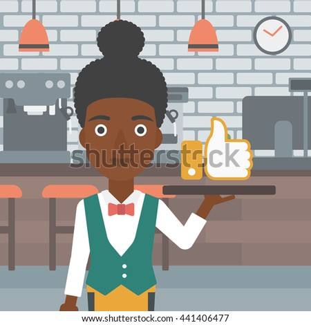 An african-american waitress carrying a tray with like button on a cafe background vector flat design illustration. Square layout. - stock vector