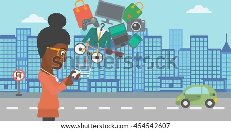 An african-american woman holding a smartphone with shopping cart and application icons flying out on a city background, Vector flat design illustration. Horizontal layout. - stock vector