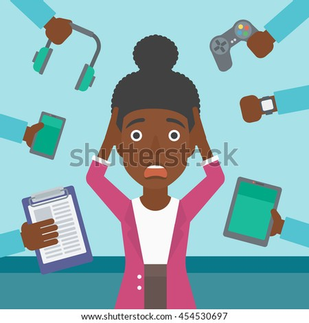 An african-american woman in despair and many hands with gadgets around her. Woman surrounded with gadgets. Woman using many electronic gadgets. Vector flat design illustration. Square layout. - stock vector