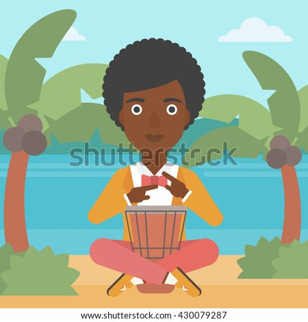 An african-american woman playing tomtom on the background of tropical beach with palm trees and the sea vector flat design illustration. Square layout. - stock vector